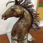Mid Century Consignments Dallas - Hand hammered brass horse