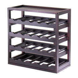 Winsome Wood - Solid Wood Stackable Wine Rack w Espresso Fin - Made of solid wood. Holds 20 Wine Bottles. Cannot hold bottles bigger than 0.75 L. Espresso finish. Some assembly required. 9.92 in. W x 20.47 in. L x 20.47 in. H
