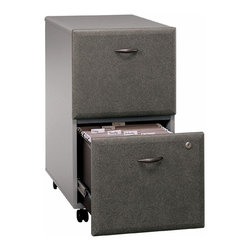 Bush Business - Two Drawer Filing Cabinet in Pewter Colored - Here is a simple two drawer filing cabinet that will allow you to store all of your most relevant documents in a safe and secure place.  The drawers lock for safety and privacy, the color adds sophistication and charm to the office, and the wheels make the filing cabinet very versatile as it can be moved from office space to office space for convenient access.  With two lockable drawers, this cabinet can hold various sized documents.  Not only will this file help you to get organized, it will add a touch of style to any home office with its pewter finish.  The stylish and convenient Pewter colored Two Drawer File Cabinet features two locking drawers that fully extend on ball-bearing glides. * Two file drawers hold various sized documents. Both drawers can be locked. Drawers are fully extending on ball-bearing glides. Able to slide under desks. Smooth casters for portability. Pewter finish. 15.512 in. W x 20.276 in. D x 28.15 in. H