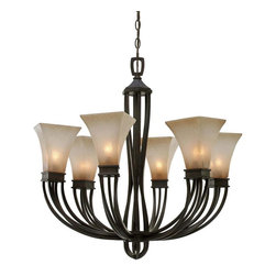 Golden Lighting - RT 6 Wrought Iron Six Light ChandelierOrigins Collection - Golden Lighting specializes in the design and manufacture of high quality residential lighting products and accessories.