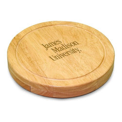 "Picnic Time - James Madison University Circo Cheese Board - The Circo by Picnic Time is so compact and convenient, you'll wonder how you ever got by without it! This 10.2"" (diameter) x 1.6"" circular chopping board is made of eco-friendly rubberwood, a hardwood known for its rich grain and durability. The board swivels open to reveal four stainless steel cheese tools with rubberwood handles. The tools include: 1 cheese cleaver (for crumbly cheeses), 1 cheese plane (for semi-hard to hard cheese slices), 1 fork-tipped cheese knife, and 1 hard cheese knife/spreader. The board has over 82 square inches of cutting surface and features recessed moat along the board's edge to catch cheese brine or juice from cut fruit. The Circo makes a thoughtful gift for any cheese connoisseur!; College Name: James Madison University; Mascot: Dukes; Decoration: Laser Engraving; Includes: 1 Hard cheese knife, 1 Cheese shaver, 1 Fork-tipped cheese knife, 1 Cheese spreader"