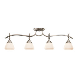 KICHLER - KICHLER Olympia Transitional Rail Light X-PA3077 - Contemporary styling at it's finest, this Kichler Lighting rail light features gentle curving lines with four cone-shaped satin etched cased opal glass shades. From the Olympia Collection, the Antique Pewter finish helps to complete the look.