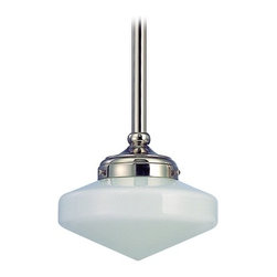 Design Classics Lighting - 8-Inch Nickel Schoolhouse Mini-Pendant Light - FA4-15 / GE8 - Polished nickel finish mini-pendant light with Glenfair schoolhouse opal white glass. Includes three 12-inch and one six-inch stem segments to allow for flexibility in height adjustment from a minimum of 16-1/2-inches to a maximum height of 52-1/2-inches. Takes (1) 150-watt incandescent A21 bulb(s). Bulb(s) sold separately. UL listed. Dry location rated.