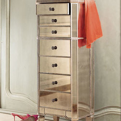 """Horchow - Amelie Mirrored Lingerie Chest - Store your prized delicates in this lovely chest. Frame, hardwood with silver/golden burnished finish. Mirrored veneers. Seven drawers with metal knobs. 20""""W x 15""""D x 50""""T. Imported."""