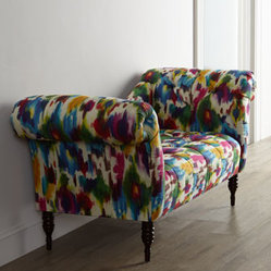 Horchow - Lizette Settee - Recamier-style settee features vibrant, pop-art inspired upholstery to bring bright color and exuberance to the room. Handcrafted diamond tufts and turned legs add a bit of sophistication. Pine frame. Linen upholstery. Polyurethane and polyester fill...