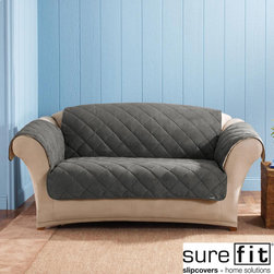 Sure Fit - Sure Fit Graphite Reversable Quilted / Sherpa Sofa Cover - This graphite sofa cover allows you to protect or rejuvenate a couch. The double-sided design includes a suede sherpa and quilted cover,so you can choose the perfect look. The 100 percent polyester graphite material blends well with most decors.