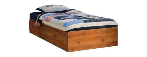 South Shore - Kids' Twin Wood Bed Frame With Sunny Pine Fin - * Manufactured from eco-friendly, EPP-compliant laminated particle boardcarrying the Forest Stewardship Council (FSC) certification. Sunny Pine finish. Antique finish metal handles. Features two spacious drawers for easy access storage. Manufactured from engineered-wood products. Made of engineered wood from 100% recycled wood fiber. 5-year warranty. Assembly required40.3 in. L x 76.3 in. W x 13.8 in. H. 94 lbs