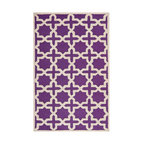 Safavieh - Callum Hand Tufted Rug, Purple / Ivory 4' X 6' - Construction Method: Hand Tufted. Country of Origin: India. Care Instructions: Vacuum Regularly To Prevent Dust And Crumbs From Settling Into The Roots Of The Fibers. Avoid Direct And Continuous Exposure To Sunlight. Use Rug Protectors Under The Legs Of Heavy Furniture To Avoid Flattening Piles. Do Not Pull Loose Ends; Clip Them With Scissors To Remove. Turn Carpet Occasionally To Equalize Wear. Remove Spills Immediately. Ancient symbols combine to create a chic interpretation of transitional Moroccan style in the beautifully textured Sahara area rug. Hand-tufted of superior wool pile and crafted to endure, this simple but striking rug contrasts plush and pile textures for rich dimension.
