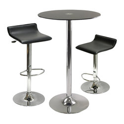 Winsome - Winsome Rossi 3 Piece Round Pub Set with Air Lift Stools in Black - Winsome - Pub Sets - 93354 - Rossi Round Tempered Glass Pub set is perfect additional for your kitchen or game room.