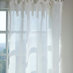 "Taylor Linens - Ruffle Cream Linen Curtain Panel, 42""x 96"" - Sheer linen edged with a 1/2-inch ruffle makes a sweet and simple curtain panel for your vintage country decor, adding just a touch of light-filtering softness. The old-fashioned cloth ties at the top let your curtain rod show, adding to the casual cottage look."