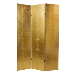 Oriental Furniture - 6 ft. Faux Leather Gold Crocodile Room Divider - A truly stunning decorative accent, beautiful both to see and to touch. This shiny gold faux crocodile skin floor screen is crafted from a fine quality medium gauge textured vinyl, upholstered onto mitered Spruce wood frames. These are room dividers appropriate for formal as well as casual home decor, and for use in professional offices, restaurants, and other institutions and enterprises. Though only offered in 3 panels, when two or more are displayed next to each other, they appear to be part of one large six or nine panel room divider. These are very sturdy, solid room dividers, designed to last for generations.