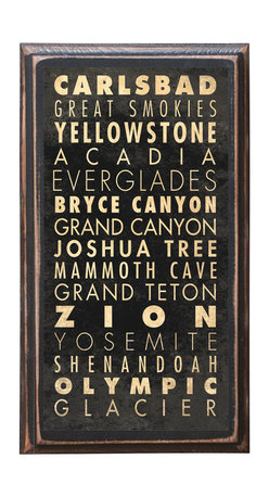 """CrestField - National Parks of the United States Points of Interest Decorative Vintage Style - This vintage style wall plaque is hand made to commemorate our wonderful National Parks. The pine board has a quarter round routed edge and is sized at 7.25"""" x 13"""" x .75"""". The surface is finished with my """"flatter than satin"""" poly finish with a saw tooth hanger on the back. Would look great in any decoration project, home or office."""