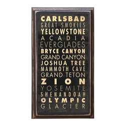 "CrestField - National Parks of the United States Points of Interest Decorative Vintage Style - This vintage style wall plaque is hand made to commemorate our wonderful National Parks. The pine board has a quarter round routed edge and is sized at 7.25"" x 13"" x .75"". The surface is finished with my ""flatter than satin"" poly finish with a saw tooth hanger on the back. Would look great in any decoration project, home or office."