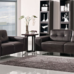 Zuri Furniture - Brown Trump Tufted Sofa Set - With its sleek lines, unique comfort, and affordable price, Trump is on its way to the top.