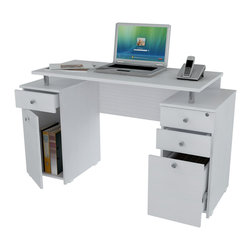 Inval America - Laricina-White Computer Desk with File Drawer - This stylish desk is designed to help you be more productive and comfortable in your home office. Store essentials in one of the three accessory drawers.