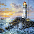 The Tile Mural Store (USA) - Tile Mural - Guardian In Danger'S Realm - Kitchen Backsplash Ideas - This beautiful artwork by Nicky Boehme has been digitally reproduced for tiles and depicts a lighthouse leading a sailboat into shore on a stormy evening.  Our lighthouse tile murals and nautical themed decorative tiles are perfect as part of your kitchen backsplash tile project or your tub and shower surround bathroom tile project. Lighthouse images on tiles add a unique element to your tiling project and are a great kitchen backsplash idea. Use a lighthouse scene tile mural for a wall tile project in any room in your home where you want to add interest to a plain field of wall tile.