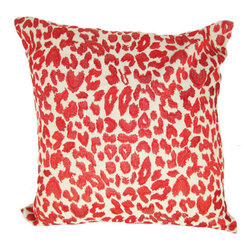 Design Accents - Leopard Red Cotton Linen 22 x 22 Decorative Pillow - - Trendy leopard print design on hand embroidered linen pillow.  - Cover Material: Cotton Linen pillow cover  - Fill Material : Down feather insert  - Cleaning/Care: Dry Clean Only  - Fabric Material: Cotton Linen Design Accents - KSS-0128-Leopard Red