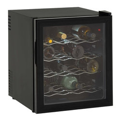 Avanti - Wine Cooler 16 Bottle - Avanti EWC1601B 16 Bottle Thermoelectric Wine Cooler with Thermopane Reversible Glass Door - Features: Stores up to 16 wine bottles. Adjustable thermostat for ideal temperature controlled conditions. Recessed handle. Solid state components for superior reliability. No vibration - bottle sediment is not disturbed. Unique state-of-the-art thermoelectric technology. Thermopane reversible glass door. Auto defrost. Soft interior lighting with on/off switch. Slide-out chrome shelves.