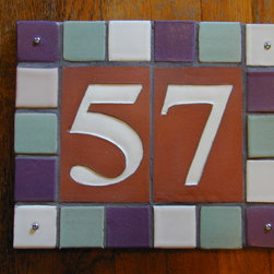 Tile Address Plaque - Handmade number tiles with multi-tile frame, set, grouted and ready to install.  10 in. x 12 in.