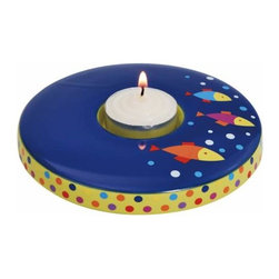 WL - 4.5 Inch Dark Blue Tropical Fish and Polka Dot Tea Light Candle Holder - This gorgeous 4.5 Inch Dark Blue Tropical Fish and Polka Dot Tea Light Candle Holder has the finest details and highest quality you will find anywhere! 4.5 Inch Dark Blue Tropical Fish and Polka Dot Tea Light Candle Holder is truly remarkable.