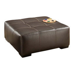 Chelsea Home - Modern Cocktail Ottoman - Medium seating comfort. Created with sinuous springs to provide no sag seating. 1.8 dacron wrapped foam cores with outside padding on arms and back for added comfort. Celeron ore covers. Fabric content: Bonded leather/100% polyester. Nailed, stapled and corner blocked frame. Frame provide strength and durability. Made from solid hardwoods and plywood. Made in USA. No assembly required. 41 in. W x 41 in. D x 16 in. H (50 lbs.)