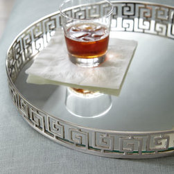 Silvery Greek Key Tray - A sophisticated spin on Greek key, this silver tray is so lovely. It would look equally charming on a cocktail table or bar setup.