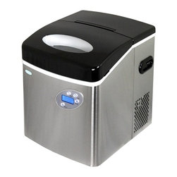 New Air - Stainless Steel Portable Ice Maker - Makes 50 lbs. of ice per day. Removable ice bin. Convenient ice scoop. Quick production time. Indicator lights. 3 ice sizes. Makes 12 pieces of ice per cycle. Convenient side drain. . 17 in. L x 17 in. W x 14 in. H (37.6 lbs)The Newair AI-215SS stainless steel portable ice maker makes up to 50 lbs. of ice per day. Offering a quick production time and 3 different ice sizes, this option will provide an ample amount of ice for any occasion.