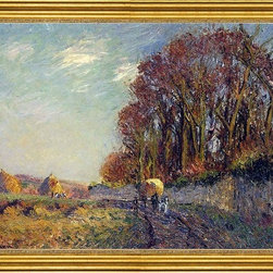 """Gustave Loiseau-16""""x24"""" Framed Canvas - 16"""" x 24"""" Gustave Loiseau Cart in an Autumn Landscape framed premium canvas print reproduced to meet museum quality standards. Our museum quality canvas prints are produced using high-precision print technology for a more accurate reproduction printed on high quality canvas with fade-resistant, archival inks. Our progressive business model allows us to offer works of art to you at the best wholesale pricing, significantly less than art gallery prices, affordable to all. This artwork is hand stretched onto wooden stretcher bars, then mounted into our 3"""" wide gold finish frame with black panel by one of our expert framers. Our framed canvas print comes with hardware, ready to hang on your wall.  We present a comprehensive collection of exceptional canvas art reproductions by Gustave Loiseau."""