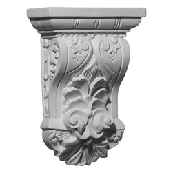 "Ekena Millwork - 7 1/4""W x 3""D x 10 1/8""H Nadia Leaf Corbel - 7 1/4""W x 3""D x 10 1/8""H Nadia Leaf Corbel. These corbels are truly unique in design and function. Primarily used in decorative applications urethane corbels can make a dramatic difference in kitchens, bathrooms, entryways, fireplace surrounds, and more. This material is also perfect for exterior applications. It will not rot or crack, and is impervious to insect manifestations. It comes to you factory primed and ready for your paint, faux finish, gel stain, marbleizing and more. With these corbels, you are only limited by your imagination."