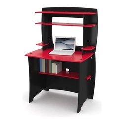 Legare - Legare 36 in. Desk with Hutch - Red and Black - MPRM-105. - Shop for Desks from Hayneedle.com! Complete your bedroom with the sleek fun style of the Legare 36 in. Desk with Hutch - Red & Black. The eco-friendly composite wood frame features smart adjustable shelving finished in black and red paint that's safe and toxin-free CPU space and a handy back panel for concealed cable management. This desk and hutch set disassembles in seconds for convenient flat-pack storage and can be assembled in just three minutes no tools necessary. Dimensions: 36W x 27D x 54H inches. About Legare FurnitureBased in Fort Worth Texas Legare Furniture is a design and manufacturing firm that produces contemporary unique and easy-to-assemble furniture for the home and small office. Founded in 1999 the company's designs are an evolution of Legare's original signature modular design continually improved with innovative materials and finishes to enhance the chic style and convenient functionality that marks Legare's furniture as distinct.