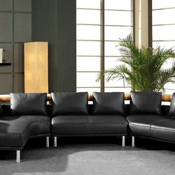 Advanced Adjustable All Real Leather Sectional - Adjustable headrest and St. steel legs