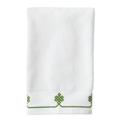 Serena & Lily - Gobi Hand Towel  Grass - We believe a bath towel should be one of life's little luxuries. Woven in Portugal from supremely soft cotton, they're lofty, absorbent and quick to dry. The embroidered motif was borrowed from our best-selling sheets, adding just the perfect pop of green to a white ground. Best of all they won't fade, fray or wear out.