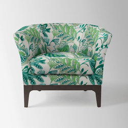 Tulip Chair, Sarah Campbell Floral, Ivory/Green - Flora and fauna combine in this fun chair. If I had a walk-in closet big enough, I'd add this girly chair in the corner.