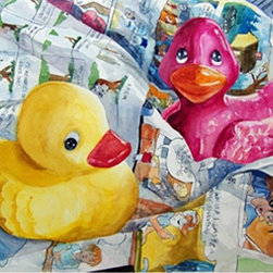"""""""Rubber Duckies"""" Artwork - Original watercolor painting on 260 lb Arches Hot Press Watercolor Paper. The painting is signed on front, bottom left corner. It reflects the artist's interest in capturing the most ordinary events in life. This painting is double matted with 3"""" off-white mats. The finished size is 22"""" x 26""""."""