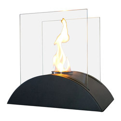"Bluworld Nu-Flame - Estro Personal Tabletop Ethanol Fireplace - ""Estro"", Italian for inspiration, is one of our newest tabletop fireplaces. Estro is the perfect centerpiece or gathering point for friends and family. Estro is a beautiful way to add luxury and warmth making it th perfect gift to give or receive!The colorful flames stand out against the classic black body and safely behind the tempered glass windscreen... beautiful and functional. This open ultra modern design allows the beauty and colors of the flames to be enjoyed by everyone. Relax and unwind as you watch the fascinating flames. Perfect for any setting. Estro tabletop bio-fireplace may be used indoors or out, however do not leave your fireplace outside exposed to the elements after use."