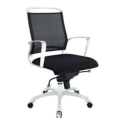 East End Imports - Strive Mid Back Office Chair in Black - Draft new courses with a streamlined chair equipped for success. Strives edgy design combines the latest in office chair technology, with a modern look that is both edgy and resilient. The polished chrome-plated aluminum armrests encourage ambition, even as your arms find themselves properly positioned for the tasks at hand. The breathable mesh back and seat pattern helps evenly disperse your body's weight, while keeping you climate-neutral all day long. Strive comes equipped with a tension control knob and tilt lock to further personalize the chair, while the pneumatic lever easily adjusts the chairs height. The 360 degree swivel will also keep your inner kid entertained as well. Additionally, the hooded aluminum base comes equipped with five dual-wheeled casters for easy gliding over carpeted surfaces. Strive is a compact, well-built chair, intended to serve both your posture and style.