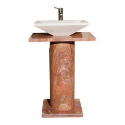 The Allstone Group - VSP-3 Saturn Red Honed Lav Pedestal - Natural stone strikes a balance between beauty and function. Each design is hand-hewn from 100% natural stone.  Limited in space but still want to wow your guests?  Perfect for half-baths and powder rooms. Pedestal comprised of base, column and vanity top. Vessel sold separately.