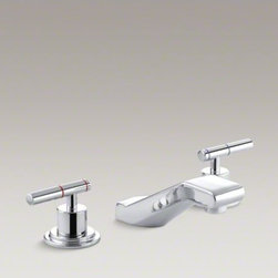 KOHLER - KOHLER Taboret(R) widespread commercial bathroom sink faucet, requires handles - The Taboret widespread lavatory faucet brings distinctive beauty to a commercial bath or powder room without sacrificing durability. This faucet features solid brass construction for years of reliable performance. Additionally, KOHLER ceramic disc valves