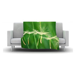 """Kess InHouse - Robin Dickinson """"Best Wishes"""" Green Flower Fleece Blanket (90"""" x 90"""") - Now you can be warm AND cool, which isn't possible with a snuggie. This completely custom and one-of-a-kind Kess InHouse Fleece Throw Blanket is the perfect accent to your couch! This fleece will add so much flare draped on your sofa or draped on you. Also this fleece actually loves being washed, as it's machine washable with no image fading."""