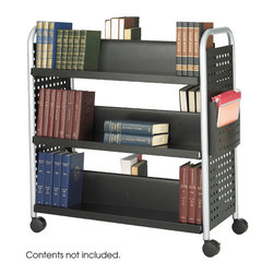"Safco - Scoot Double Sided 6 Shelf Book Cart - Black - Make your books mobile. The Scoot Book Cart is an all steel cart featuring tubular steel legs and a durable black powder coat finish. Over-sized casters for easy transportation of books and other reference materials. The double-sided cart has six slanted shelves 8""D with 12"" clearance between shelves. Includes a height adjustable file pocket.; Features: Material: Steel; Color: Black; Finished Product Weight: 62.4 lbs.; Assembly Required: Yes; Tools Required: Yes; Limited Lifetime Warranty; Dimensions: 41 1/4""W x 17 3/4""D x 41 1/4""H"