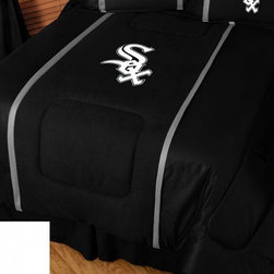 Sports Coverage - MLB Chicago White Sox Bedding - MVP Micro Suede Comforter - Full - The MLB Chicago White Sox MVP Micro Suede Collection is unique in its appeal to both young and more mature tastes. Show your Baseball team spirit with this great looking officially licensed MVP Micro Suede comforter. Sporting team colors with sporty double porthole jersey edging, This generous-sized comforter is made of faux suede coupled with jersey mesh on the sides and sporty double porthole jersey edging that stays colorfast, soft, and wrinkle-free. The comforter also has the team's same color on the other side! It is filled with 100% bonded polyester batting. Machine washable in cold water. Tumble dry in low heat.