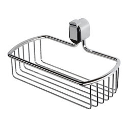 Geesa - Chrome Wire Shower Basket - Contemporary style wall mounted wire shower basket. Shower organizer made of brass with a polished chrome finish and black clip. Wall hung bathroom basket mounts with screws. Made in the Netherlands by Geesa. Wall mounted wire shower basket. Contemporary style. Made of brass with black plastic clip. Polished chrome finish. Wall bathroom basket mounts with screws. From the Geesa Pulse Collection.