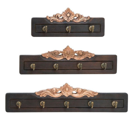 Benzara - Wood Wall Hook with Antique Style - Set of 3 - Take this rare chance to enhance your home interiors with this unique set of wood wall hooks that sports a royal aura and antique style. The antique charm is reflected from the tarnished wood that sports a floral design on top of every hook set. The sturdy and stylish hooks are made from high quality polished metal that can withstand good weight. The tight fittings and sturdy design of these wall hooks make them pretty and effectively useful at the same time. As they are available in a set of 3, you can make creative use of these wall hooks by placing them in separate rooms to maintain a fluency in your indoor settings. This stylish set of 3 is made from high quality wood frames that consist of 3, 4, 5 metal hooks separately. They combine style with functionality..