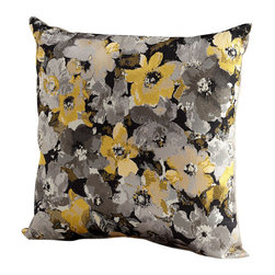 Cyan Design - Field of Flowers Pillow - The Fields of Flowers Pillow is fresh and feminine with chic sophistication. Finely crafted with yellow and silver fabric and a taupe reverse, this pillow features a dense polyester core. The Fields of Flowers Pillow features a trendsetting pattern of gray, yellow, black and white abstract flowers. Choose one pillow for a distinct accent on a lounge chair or sofa. Or choose multiples to make a statement in the living room or bedroom. Pair with similar hued pillows in other patterns for a curated collection. This unforgettable design is sure to add style and intrigue to a modern room scape.
