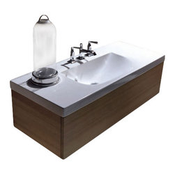 """WS Bath Collections - Bentley 3937C Bathroom Vanity Unit with Drawer Unit 39.4"""" x 19.7"""" - Bentley 3937C by WS Bath Collections, Wall Hung Bathroom Vanity Unit, Includes Ceramic Bathroom Sink with One or Three Faucet Holes, and Wood Drawer Unit"""