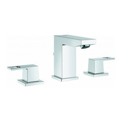 Grohe - Grohe Starlight Chrome Eurocube 2-handle 3-hole Bathroom Faucet - Add a sleek new fixture to your bathroom with the 3-hole Grohe starlight chrome bathroom faucet. This faucet features a strong metal construction base and is complementary to any existing bathroom fixtures.