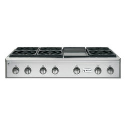 "GE Monogram - GE Monogram® 48"" Professional Gas Rangetop with 6 Burners and Griddle (Natural G - Crafted of premium-grade stainless steel, professional gas Monogram rangetops have an overall look of sculptural sophistication. Offering commercial-grade cooking power with infinitely adjustable heat settings, a Monogram professional gas rangetop gives you carte blanche to indulge in all forms of experimentation."
