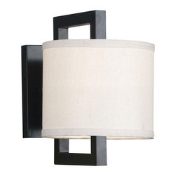 Kenroy Home - Kenroy Home 10063ORB Single Light Up Lighting Wall Sconce from the Endicott Coll - Endicott's cream fabric shades are suspended from rectangular frames finished in Oil Rubbed Bronze and cast a soft glow through frosted bottom diffusers. The four-light island light offers a unique spin; the middle two shades rotate to offer more functionality.