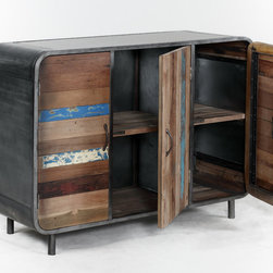 Retro / Midcentury Modern, 3 Door / 6 Shelf Cabinet - A 3 door midcentury modern, retro style cabinet made from salvaged / reclaimed boat wood.  This furniture has a rustic / modern / industrial look and is very well made.