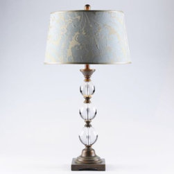 Crystal Table Lamp - Crystal...so elegant and perfect to use on a chest in an entry or on a bedside table.  The soft blue of the shade on this crystal lamp with its warm, gold design would pair beautifully with blue and brown bedding.